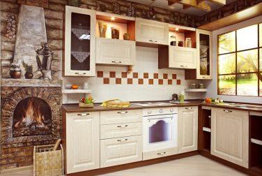 Угловая кухня Кантри светлая